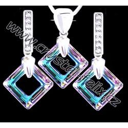 ŘETÍZEK + STŘÍBRNÝ SET JM s krystaly SWAROVSKI SQUARE čtverce VITRAIL LIGHT, stříbro Ag925