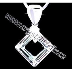ŘETÍZEK + Stříbrný náhrdelník JM zdobený krystalem SWAROVSKI SQUARE čtverec, stříbro Ag925