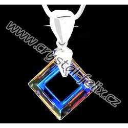 ŘETÍZEK + Stříbrný náhrdelník JM zdobený krystalem SWAROVSKI SQUARE VOLCANO čtverec, stříbro Ag925