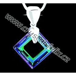 ŘETÍZEK + Stříbrný náhrdelník JM zdobený krystalem SWAROVSKI SQUARE BERMUDA BLUE, stříbro Ag925