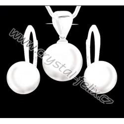 KVALITNÍ STŘÍBRNÝ SET JM zdobený perlami SWAROVSKI bílé perly, anglické klapky Ag925