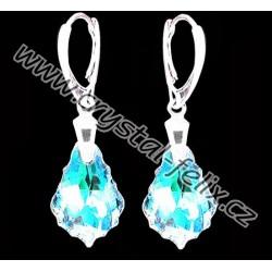 KVALITNÍ STŘÍBRNÉ NÁUŠNICE JM s  krystaly SWAROVSKI baroko BAROQUE Crystal Blue AB - čiré s modrými odlesky Ag925