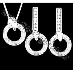 ŘETÍZEK + STŘÍBRNÝ SET JM s krystaly SWAROVSKI RING KROUŽKY CRYSTAL AB ČIRÉ s odlesky, stříbro Ag925