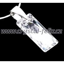 ŘETÍZEK + STŘÍBRNÝ NÁHRDELNÍK JM S KRYSTALEM SWAROVSKI Crystal CAL výrazný čirý, stříbro Ag925
