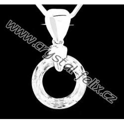 ŘETÍZEK + STŘÍBRNÝ NÁHRDELNÍK JM S KRYSTALEM SWAROVSKI RING CRYSTAL CAL čirá výrazná kroužek, stříbro Ag925
