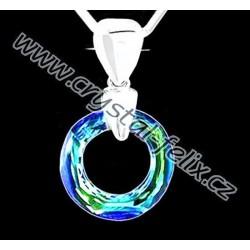 ŘETÍZEK + STŘÍBRNÝ NÁHRDELNÍK JM S KRYSTALEM SWAROVSKI RING BERMUDA BLUE kroužek, stříbro Ag925