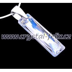 ŘETÍZEK + Stříbrný náhrdelník JM zdobený krystalem SWAROVSKI Crystal BLUE AB čirý s modrými odlesky, stříbro Ag925