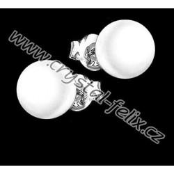 STŘÍBRNÉ PUZETY JM s perlami SWAROVSKI, bílé perly White Pearl, puzety Ag925