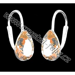 PERFEKTNÍ STŘÍBRNÉ náušnice JM s krystaly SWAROVSKI VINTAGE ROSE kapičky béžové, i dětské  Ag925