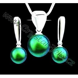KVALITNÍ STŘÍBRNÝ SET JM S PERLAMI SWAROVSKI Green zelené perleťové perly, anglické klapky Ag925