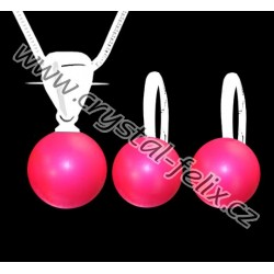 KVALITNÍ STŘÍBRNÝ SET JM zdobený perlami SWAROVSKI neon výrazné perly, anglické klapky Ag925