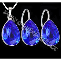 STŘÍBRNÝ ŘETÍZEK + KVALITNÍ STŘÍBRNÝ SET JM zdobený krystaly SWAROVSKI modré kapky BLUE, Ag925