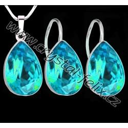 STŘÍBRNÝ ŘETÍZEK + KVALITNÍ STŘÍBRNÝ SET JM zdobený krystaly SWAROVSKI ZELENÉ kapky LAGUNA, Ag925