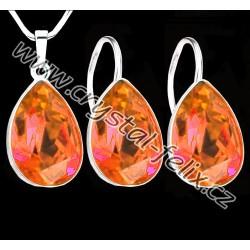 ŘETÍZEK + KVALITNÍ STŘÍBRNÝ SET JM zdobený krystaly SWAROVSKI kapky ROSEPEACH, Ag925