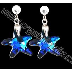 KVALITNÍ STŘÍBRNÉ NÁUŠNICE JM s krystaly SWAROVSKI hvězdice Bermuda Blue, Ag925