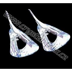KVALITNÍ STŘÍBRNÉ VISACÍ NÁUŠNICE JM zdobené krystaly SWAROVSKI TRIANGLE, ČIRÉ CRYSTAL CAL, stříbro Ag925