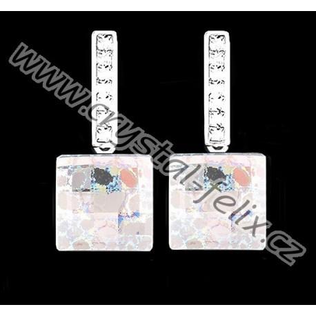 STŘÍBRNÉ KAMÍNKOVÉ NÁUŠNICE JM s krystaly SWAROVSKI CRYSTAL AB PATINA čtverečky, anglické klapky Ag925