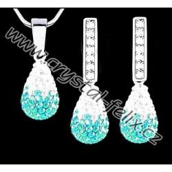 ŘETÍZEK + KVALITNÍ STŘÍBRNÁ SOUPRAVA JM zdobená krystaly SWAROVSKI, stříbro Ag925, luxusní kapky