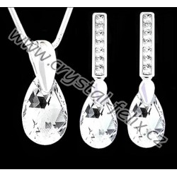 ŘETÍZEK + KVALITNÍ STŘÍBRNÝ SET JM zdobený krystaly SWAROVSKI hrušky CRYSTAL CAL, čiré kapky, Ag925