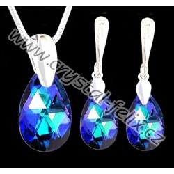 ŘETÍZEK + KVALITNÍ STŘÍBRNÝ SET JM zdobený krystaly SWAROVSKI hrušky BERMUDA BLUE tmavě modré odlesky, Ag925