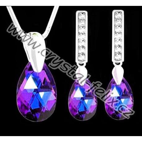 ŘETÍZEK + KVALITNÍ STŘÍBRNÝ SET JM zdobený krystaly SWAROVSKI hrušky HELIOTROPE tmavě fialové odlesky, Ag925