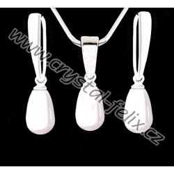 KVALITNÍ STŘÍBRNÝ SET JM zdobený perlami SWAROVSKI bílé kapky perly, anglické klapky Ag925