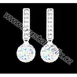 KVALITNÍ STŘÍBRNÉ NÁUŠNICE JM  s krystaly SWAROVSKI kuličky, zdobené klapky s čirými krystaly Ag925