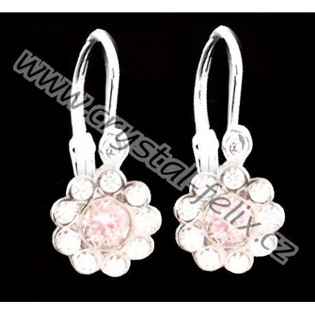 Nádherné stříbrné a rhodiované dětské náušnice JM kytičky zdobené krystaly SWAROVSKI,  Ag925