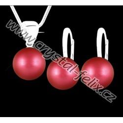 KVALITNÍ STŘÍBRNÝ SET JM zdobený perlami SWAROVSKI červené vínové perly s odlesky, anglické klapky Ag925