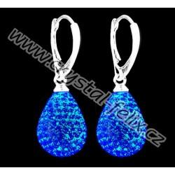 STŘÍBRNÉ NÁUŠNICE MAXI JM kapky zdobené krystaly SWAROVSKI SAPPHIRE Blue modré, Ag925