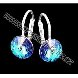 KVALITNÍ STŘÍBRNÉ NÁUŠNICE JM se SWAROVSKI RIVOLI krystaly BERMUDA BLUE modrá, jemné anglické klapky, Ag925