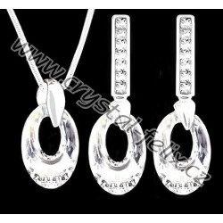 STŘÍBRNÝ SET JM MAXI s krystaly SWAROVSKI HELIOS Crystal AB čiré duhové,  stříbro Ag925