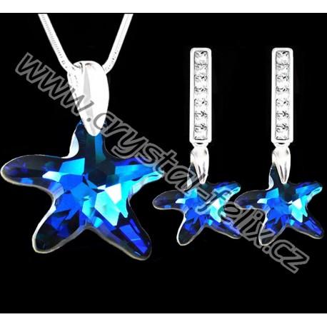 ŘETÍZEK + STŘÍBRNÝ SET JM S KRYSTALY SWAROVSKI STARFISH hvězdice BERMUDA Blue, stříbro Ag925
