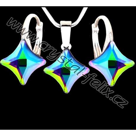 STŘÍBRNÝ SET JM s krystaly SWAROVSKI, čtverečky světle modré Bermuda Blue, stříbro Ag925