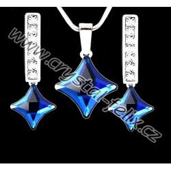 ŘETÍZEK + KVALITNÍ STŘÍBRNÝ SET JM zdobený čtverečky SWAROVSKI Square Bermuda Blue, anglické klapky s krystaly Ag925