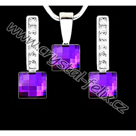 ŘETÍZEK + KVALITNÍ STŘÍBRNÝ SET JM zdobený čtverečky SWAROVSKI CHESSBOARD HELIOTROPE, anglické klapky s krystaly Ag925
