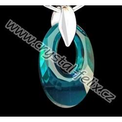 STŘÍBRNÝ ŘETÍZEK Ag925/100 + NÁHRDELNÍK JM s krystalem SWAROVSKI HELIOS Blue Zircon, stříbro Ag925