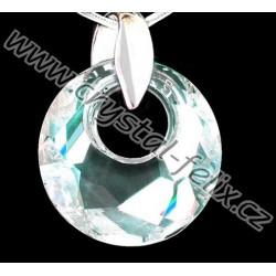 STŘÍBRNÝ ŘETÍZEK Ag925/1000 + NÁHRDELNÍK JM s krystalem SWAROVSKI MOONLIGHT čirá s modrými odlesky, stříbro Ag925